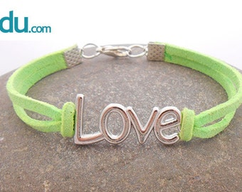 Bracelet suede with connector LOVE of metal plated