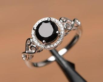 natural black spinel ring engagement ring round cut ring silver ring black gemstone ring