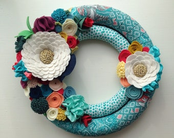 Teal blue fabric with felt flowers - summery bright felt flower wreath