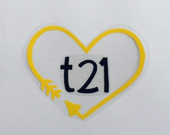 "Down Syndrome Awareness, DIY, Iron-on Transfer, Heat Transfer Vinyl, Heart and Arrow ""t21"" Design"