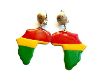 Vintage Enamel Africa Earrings Clip On Dangle Charm Large Big Overstated Continent Pride Gold Tone Red Yellow Green Flag Ethnic African