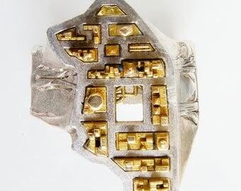 New York Statement Ring - Adjustable Band - Modern Jewelry - Abstract Ring - 3d Print Jewelery - Jekipp