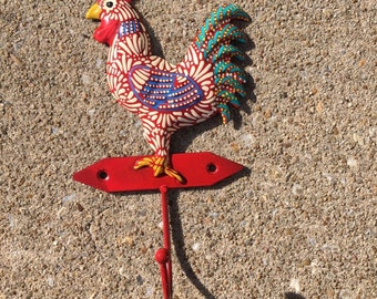 Kitchen hook - chicken - rooster - towel hook - home decor - kitchen decor - red chicken - kitschy - chicken decor - country decor - painted