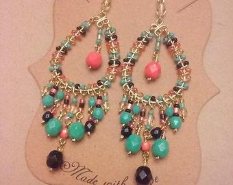 Multi color chandelier earrings, turquoise chandelier earrings, coral chandelier earrings, colorful earrings, beaded dangle earrings, boho