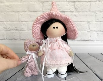 Personalized Handmade Doll in Pink Crochet Hat with Pink Crochet Baby Bear, Christmas Present for Daughter, Gift for Mom, Nursery Room Decor
