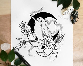 Bird and Peonies Print