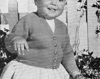 """vintage baby cardigans knitting pattern pdf 4ply & DK baby v neck jackets 20-22"""" 4 ply DK light worsted 8ply pdf instant download"""