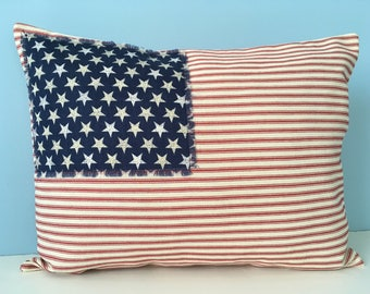 Flag Pillow, patriotic throw pillow cover, USA red white and blue, Stars and Stripes, Americana decor, rustic pillow, 4th of July decor,