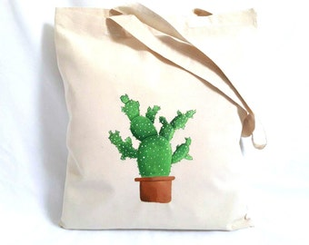 Cactus Tote Bag, Cotton Tote Bag, Farmers Market Bag, Cactus Gift, Book Bag, Reusable Grocery Tote Bag, Grocery Tote, Gift for Teacher