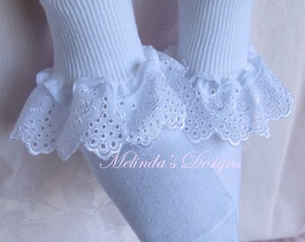 Easter Socks Ruffled Socks Baby Socks Christening Socks Wedding Socks Infant Socks Frilly Sock Little Girl's Socks Toddler Socks Baby gift