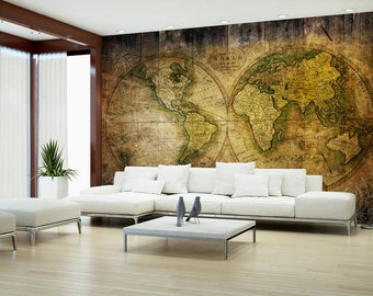 Photo Wallpaper Wall Murals Non Woven World Map Atlas Modern Vintage Design Wall  Decals Bedroom Decor