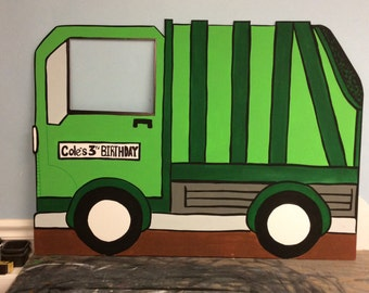Garbage Truck Photo Prop Personalized (foam board) Truck Birthday Party, 1 Hand Painted Standee, Indoor Outdoor Decor