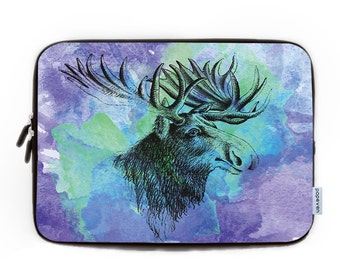 Vintage Watercolour Antlers Design Laptop Sleeve 15.6 , Personalized Laptop Sleeve, Laptop Case,Neoprene Laptop Bag, Macbook Sleeve Gift