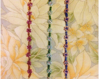 Beaded daisy chain bracelet or choker necklace