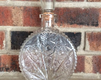 Vintage Pressed Glass Liquor Decanter with Stopper