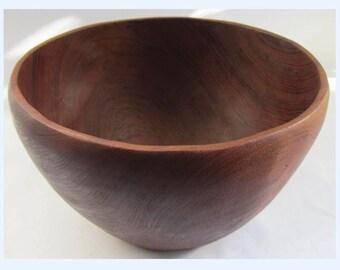 Vintage Wooden Solid Teak Fruit Salad Bowl Large - Mid Century - 70's Carved