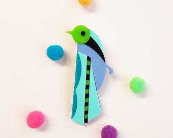 Bird brooch.  Colorful,fun,bright. Baltic birch wood