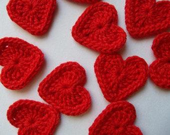 Heart Appliques, Crochet Hearts, Red Hearts, Crochet Appliques, Colourful Hearts, Set of 10