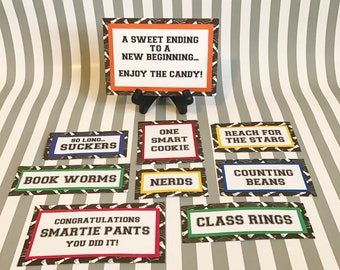 Graduation Candy Bar - Graduation Candy Signs, set of 9 - Candy Bar Sign - Graduation Party - Graduation Favors - Candy Bar - Graduation