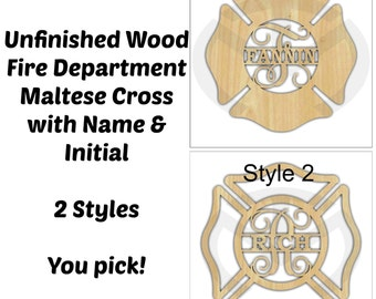 Unfinished Wood Fire Department Maltese Cross Door Hanger Laser Cutout w/ Your Initial & Name, Home Decor, Various Sizes, Ready to Paint
