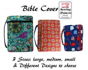 Bible Cover Sewing Pattern, Zippered Bible Case, Book Cover, Bible Organizer, Book Holder, LARGE, MEDIUM, SMALL