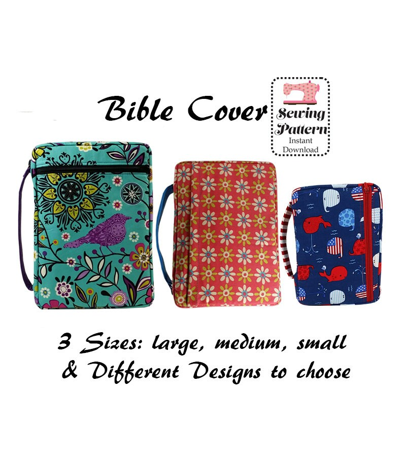 How To Make A Fabric Book Cover With Handles ~ Bible cover sewing pattern zippered case book