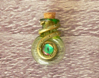 Green Cthulhu Potion Necklace, Lovecraft Necklace, Tentacle Necklace, Kraken Necklace, Potion Bottle, Cthulhu Pendant, Tentacle Pendant
