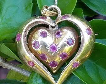 Vintage Retro 14k Gold Ruby Heart Pendant Necklace Brooch Estate Jewelry 7.5 gm