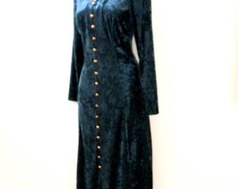 Vintage 90s Green Crushed Velvet Dress - 1990s Hunter Green Velvet Corset Back Maxi Dress - Dark Green Velvet Dress - Size Medium 8
