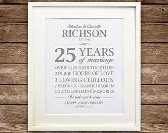 25th Anniversary Gift, Silver Anniversary, Anniversary Gift, Anniversary Gift for Parents, Anniversary Stats Printable, Custom Colors