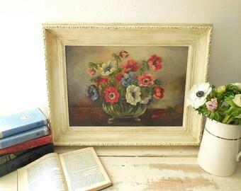 Beautiful vintage oil painting, flowers, still life