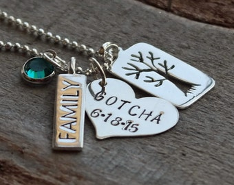 Family Tree Gotcha Day Adoption Personalized Necklace
