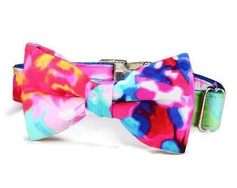 The Monet Bow Tie Dog Collar, Dog Bow Tie Collar, Bow Tie Dog Collar, Colorful Dog Collar, Girl Dog Collar, Wedding Dog Collar, Fancy Collar