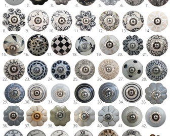 Vintage Style Ceramic Cupboard Door Knobs | Black, White & Grey Kitchen Cabinet Knobs | Drawer Pulls |  Dresser Handles
