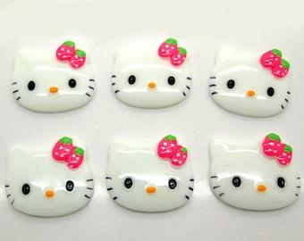 5 pcs Hello Kitty phone deco Resin Cabochon Flatbacks