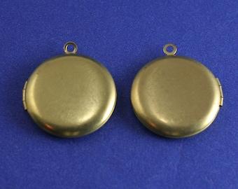 "2 pcs -26.5mm Raw Brass Locket, 1"" Locket, Round Brass Locket- RB-2300-PR"