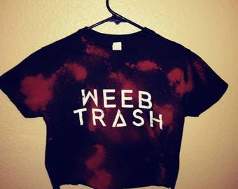 Bleached black wrecked weeb trash crop top  salvaged tshirt