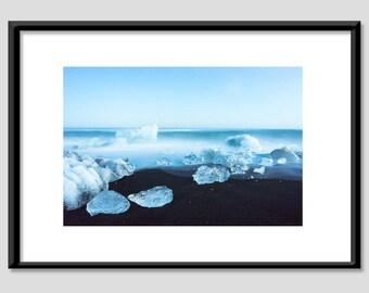 Photo print - Island / glacier / Black Beach - A4 20 x 30 cm