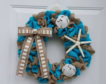 Beach Wreath, Beach Burlap Wreath,  Summer Wreath, Starfish Wreath, Coastal Wreath, Coastal Decor, Beach Decor