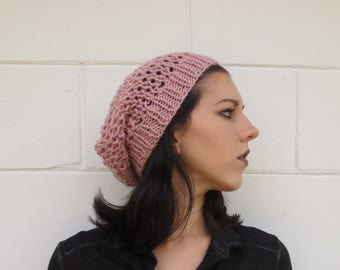 SUMMER SALE - summer slouchy beanie - rosy pink - one size fits most