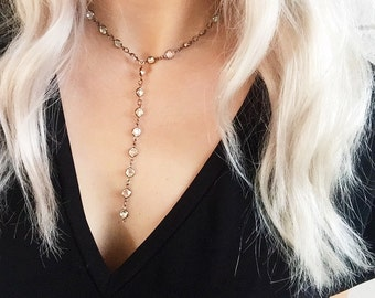 Swarovski Crystal Lariat Necklace | Crystal | Gunmetal | Gold