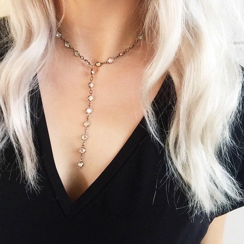 Swarovski Crystal Lariat Necklace | Crystal | Gunmetal | Gold