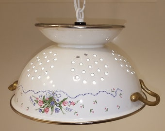 Colander Lamp White, Lamp Colander White, White Colander Lamp, Upcycled Lighting, Kitchen Decor, Accent Lighting, Unique Lamp, One of a Kind