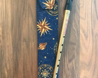 Tin Whistle Case, Recorder Sleeve, Irish Penny Whistle D Cover, Fabric Custom Instrument Pouch, Bag, Classical Conversations, CC, Music Gift