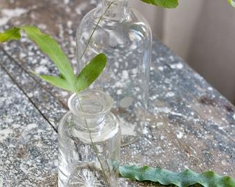 Vintage French Glass Bottles - set of 2