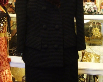 Vintage 1960's Black Wool Poodle Cloth Mad Men Suit with Mink Collar * Small to Medium