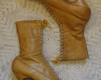 Vintage Antique Victorian Edwardian Golden Brown Leather Lace Up Granny Boots * Size 7-8