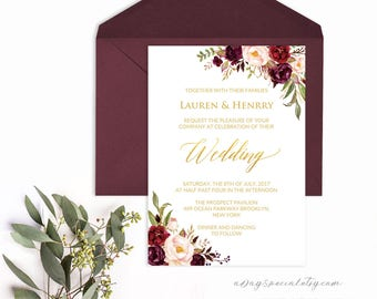 Burgundy Floral Gold Foil Wedding Invitation Template, Printable 5x7 Wedding Invites, Fits Vistaprint, DIY PDF Instant download #105