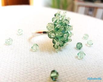 Ring adjustable green cluster swarovski crystal ring, gift for her, handmade, ooak, nickel free