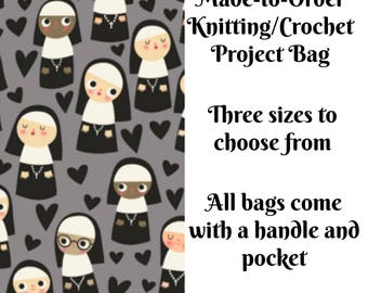 Knitting Project Bag, Nuns in Grey, Sock Knitting, Zippered Bag, Crochet Bag, Sweater Project Bag, Large Bag
